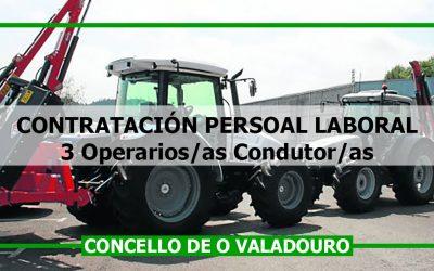 Contratación 3 operarios/as condutor/as